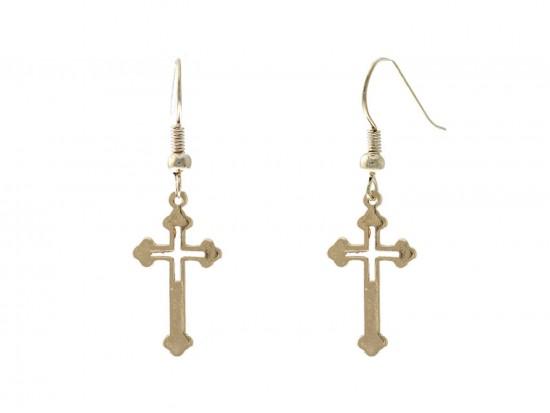 Gold Cut Out Cross Hook Earrings