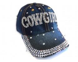 Cowgirl Crystal Denim Dark Blue Cap