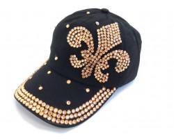 Fleur De Lis Gold Crystal Black Cap
