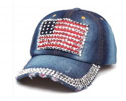 USA Flag Crystal Blue Denim Cap