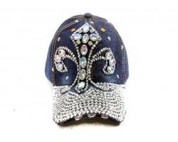 Fleur De Lis Crystal Dark Blue Denim Ball Cap