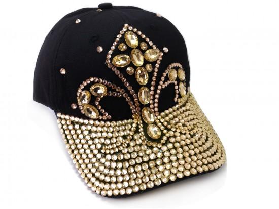 Gold Fleur De Lis Crystal Black Ball Cap