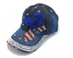 Blue Denim USA Crystal Cross Baseball Cap