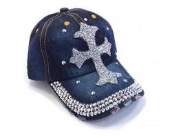 Blue Denim Silver Crystal Cross Baseball Cap
