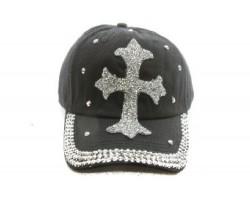 Black Silver Crystal Cross Baseball Cap