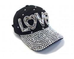 Black Clear Crystal LOVE Baseball Cap