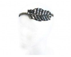 Silver Feather Seed Bead Stretch Headband