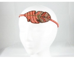 Coral Feather Seed Bead Stretch Headband