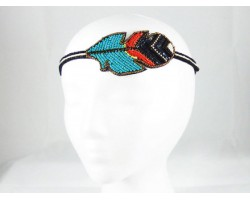 Turquoise Black Feather Seed Bead Stretch Headband