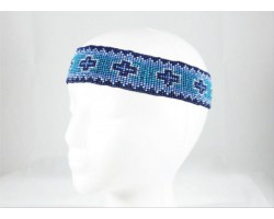 Blue Crosses Stretch Seed Bead Headband