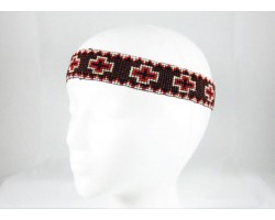 Brown Crosses Stretch Seed Bead Headband