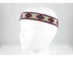 Ivory Red Crosses Stretch Seed Bead Headband
