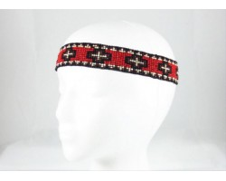 Red Black Crosses Stretch Seed Bead Headband
