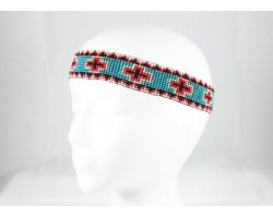Turquoise Crosses Stretch Seed Bead Headband