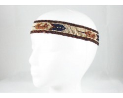 Brown Ivory Feathers Seed Bead Stretch Headband
