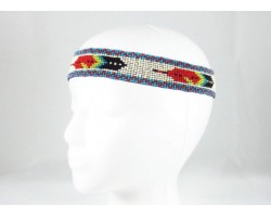 Ivory Turquoise Feathers Seed Bead Stretch Headband