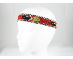 Red Black Feathers Seed Bead Stretch Headband