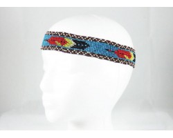 Turquoise Red Feathers Seed Bead Stretch Headband