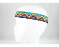 Turquoise Cross Chevron Seed Bead Headband