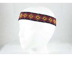 Red Black Yellow Diamond Seed Bead Stretch Headband