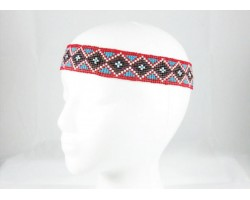 Red Brown Turquoise Diamond Seed Bead Stretch Headband