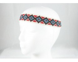 Turquoise Red Diamond Seed Bead Stretch Headband
