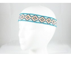 Turquoise White Diamond Seed Bead Stretch Headband