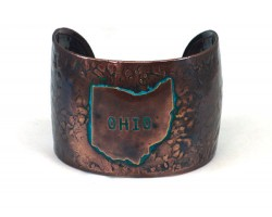 Chocolate Ohio State Map Wide Hammered Cuff Bracelet