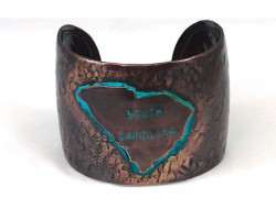 Chocolate Hammered South Carolina Cuff Bracelet