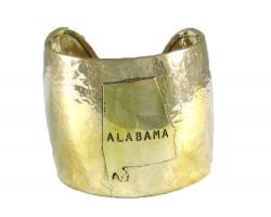 Gold Hammered ALABAMA Cuff Bracelet