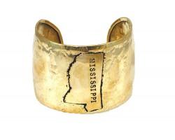Gold Hammered Mississippi Cuff Bracelet