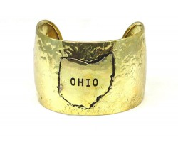 Gold Ohio State Map Wide Hammered Cuff Bracelet