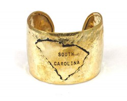 Gold Hammered South Carolina Cuff Bracelet