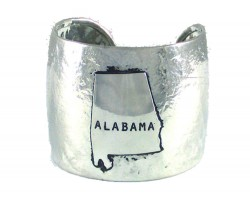Silver Hammered ALABAMA Cuff Bracelet