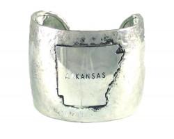 Silver Hammered ARKANSAS Cuff Bracelet