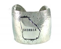Silver Hammered GEORGIA Cuff Bracelet