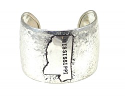 Silver Hammered Mississippi Cuff Bracelet