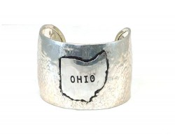 Silver Ohio State Map Wide Hammered Cuff Bracelet