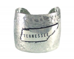Silver Hammered TENNESSEE Cuff Bracelet