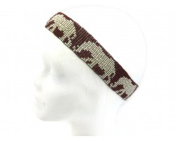 Maroon White Elephant Seed Bead Stretch Headband