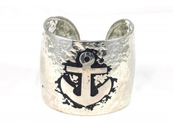 Silver Anchor Wide Hammered Cuff Bracelet