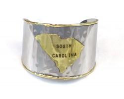 Silver Gold South Carolina State Map Cuff Bracelet