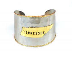 Silver Gold Tennessee State Map Cuff Bracelet