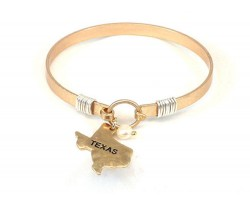 Gold Texas State Map Pearl Bangle