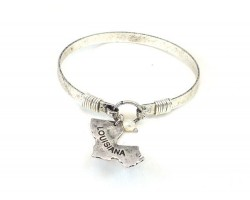 Silver Louisiana State Map Pearl Bangle