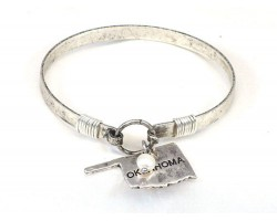 Silver Oklahoma State Map Pearl Bangle