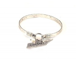 Silver Tennessee State Map Pearl Bangle