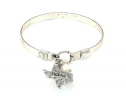 Silver Texas State Map Pearl Bangle