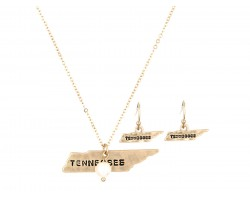 Gold Tennessee State Map Necklace Set