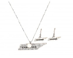 Silver Tennessee State Map Necklace Set